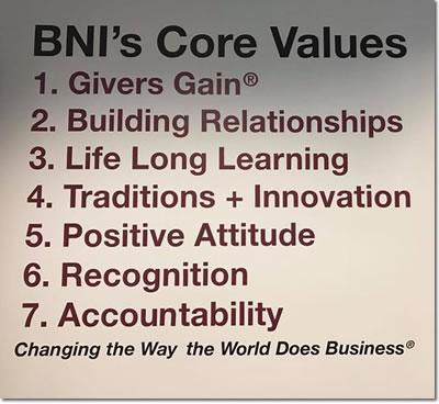 BNI Northeast Texas Core Values